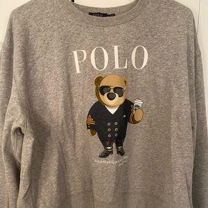 Women Grey Tux Polo bear Crewmeck